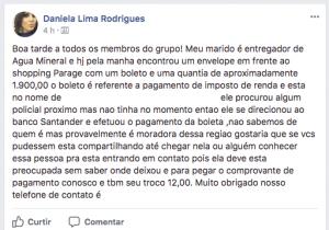 Postagem feita por Daniela na sua página no Facebook