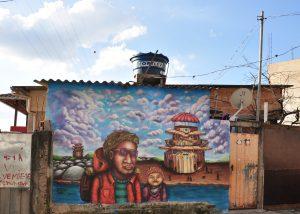 Outra intervenção feita pelo artista em parede de residência no Morro das Pedras, bairro que tem, segundo ele, uma cultura riquíssima