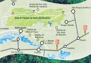 Mapa do Parque Nacional da Serra da Canastra