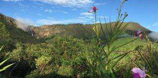 Parque da Serra da Canastra, lugar ideal para turismo de aventura, ecoturismo e observação de pássaros; ao fundo a cachoeira cerradão.