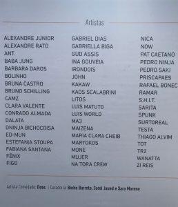 Relação dos 54 artistas que transformaram a Praça da Liberdade numa galeria de arte a céu aberto