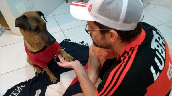 Danilo decidiu rifar ingresso da semifinal da Libertadores para bancar tratamento de câncer de Doce, o seu cachorro vira-lata. Foto - Instagram Danilo - Reprodução