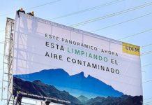 O outdoor que purifica o ar está instalado por avenidas da cidade mexicana de Monterray. Foto - Studio Roosegaarde