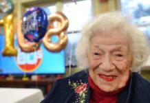 A americana Sylvia Goldscholl, de Nova Jersey, 108 anos, talvez seja a mulher mais velha do mundo a se recuperar da Covid-19. Foto - Divulgação
